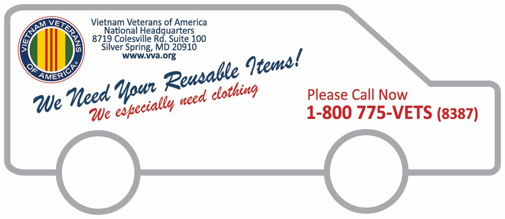 VVA Pickup - We Need Your Reusable Items! - Call 1-800-775-VETS